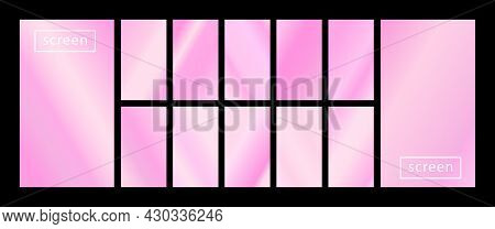Mobile Screen Lock Display Collection Of Colorful Backgrounds In Trendy Neon Colors. Modern Screen V