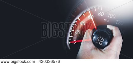 The Driver Controls The Gear Lever And The Car Mileage Sweeps Up,copy Space, Double Exposure Automot