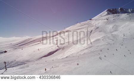 Slope Of Erciyes Ski Resort. Snow-covered Ski Slope In A Bright Winter Morning. Kayseri, Turkey