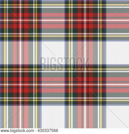 Tartan Plaid Pattern Seamless Background. Multicolour Red White Green Check Plaid. Shirt, Winter Tex