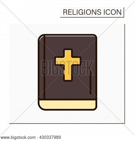 Christianity Color Icon. Bible. Main Book In Christian World. Book For Divine Services.religion Conc