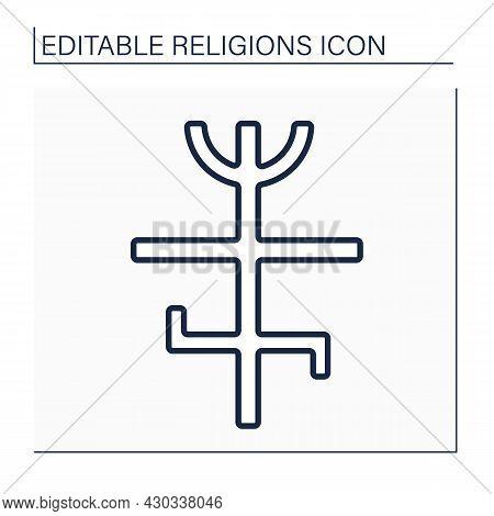 Candomble Line Icon. African Diasporic Religion.veneration Of Spirits, Orixas. Combined West Africa