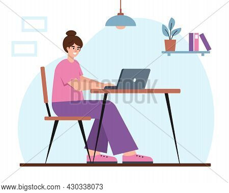 Young Woman With Laptop Working At Home, Student Or Freelancer. Smiling Happy Girl Sitting At Desk.