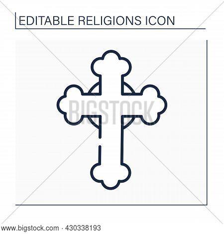 Christianity Line Icon. Cross Symbol. Faith Tradition Focused On Jesus Christ Figure, Birth, Life, D