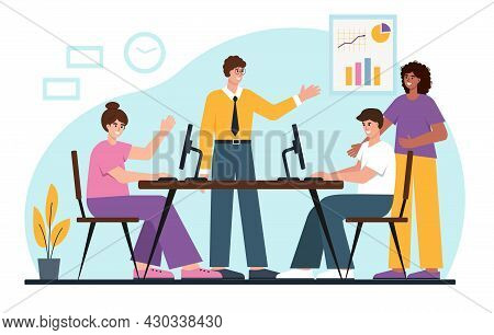 Young Business People Working Together In Office Or Coworking Place. Male And Female Characters. Bus
