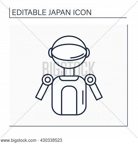Robot Line Icon. Humanoid Entertainment, Androids, Animal Robots. Robotizing. Industrial Process. Ja
