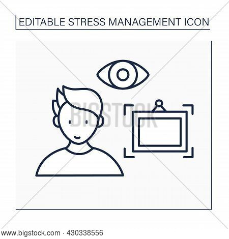 Perspective Line Icon. Look At Big Picture. Take Stressful Situations Perspective.rethinking. Accept