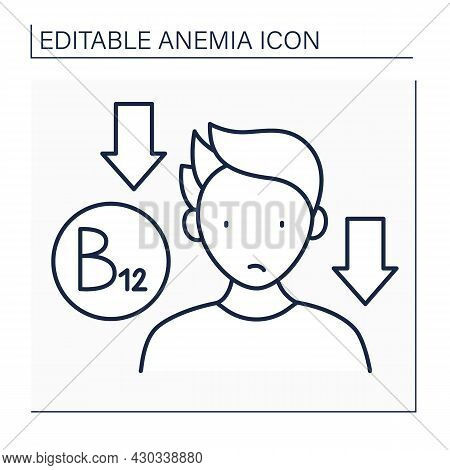 Anemia Line Icon. Low Influence Of Vitamin B-12 On Man. Disease Symptom. Health Protection. Anemia D