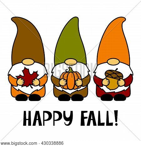 Happy Fall. Gnomes With A Maple Leaf, Pumpkin, Acorn. Thanksgiving Day. Vector Illustration. Funny C