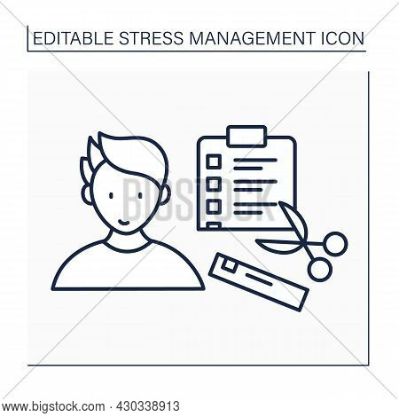To Do List Line Icon. Eliminate Unimportant Tasks. Emotional And Physical Comfort. Analyze Schedule,
