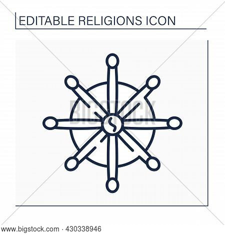 Buddhism Line Icon. Religious And Philosophical Faith Focused On Budda Personality. Ancient India Tr
