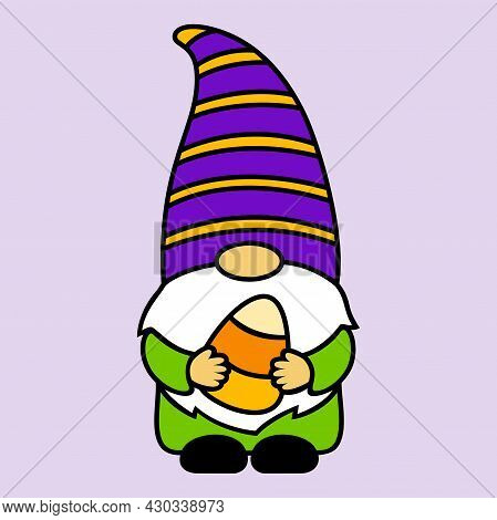Halloween Gnome With Candy Corn. Cute Cartoon Character In A Hat And Beard. Holidays Sweet Symbol. F