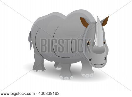 Vector Illustration Of Cartoon Gray Rhino With Two Horn