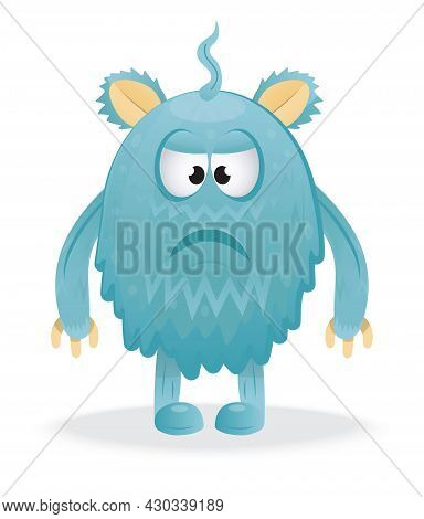 Happy Halloween Vector. Colorful Monster, Yeti Character And Face In Cartoon Style.