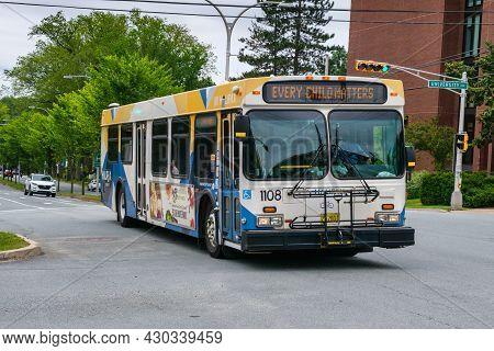Halifax, Canada - 9 August 2021: Halifax Transit Bus On The Street