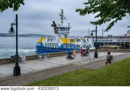 Halifax, Canada - 10 August 2021: Halifax Transit Ferry At The Ferry Terminal