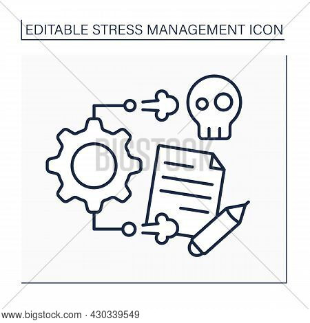 Stress Management Line Icon. Take Control Of Stressful Situations. Avoid Overworking. Mental Health