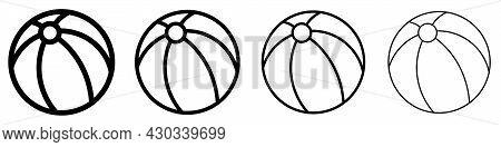 Beach Ball Icon. Set Of Black Balls. Vector Illustration. Beach Ball Vector Icons.