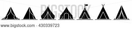 Tent Icon. Set Of Black Tent Icons. Vector Illustration. Camping Or Travel Icons