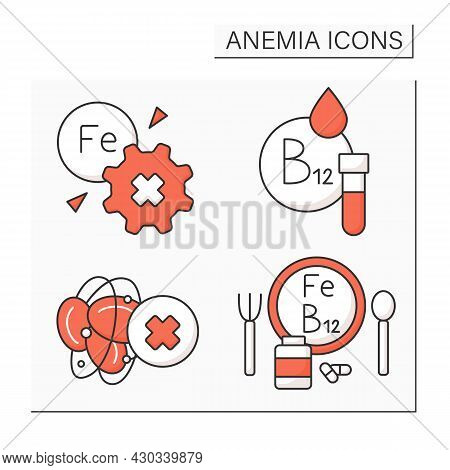 Anemia Color Icons Set. Inability To Absorb Iron. Vitamin B-12 Testing, Blood Hemophilia, Diet. Heal