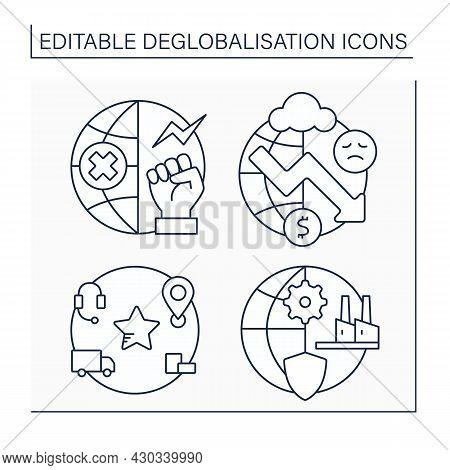Deglobalisation Line Icons Set. Anti Globalism, Economic Depression, American Supply Chains. Strengt