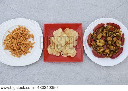 Farali Indian Fasting Food Items Aloo Chips, Potato Sticks Crispy And Farali Bhel Items Served Durin