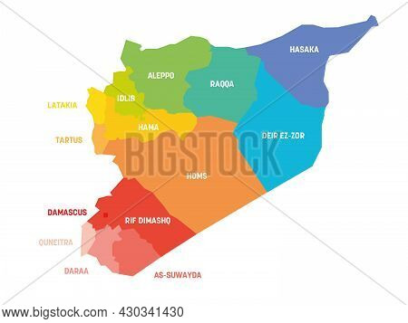 Orange Political Map Of Syria. Administrative Divisions - Governorates. Simple Flat Vector Map With