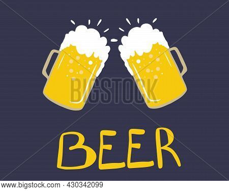 Oktoberfest Celebration Set, Beer Mugs, Hand-lettered Beer, Oktoberfest Holiday, Wheat Spikelets. De