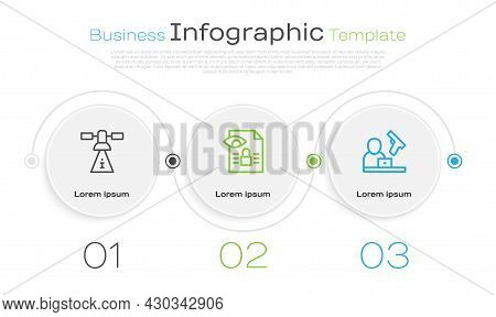 Set Line Satellite, Journalistic Investigation And Crime News. Business Infographic Template. Vector