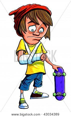 Young skateboarder with a broken arm
