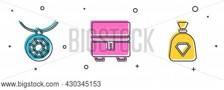 Set Pendant On Necklace, Jewelry Box And Bag With Gems Icon. Vector