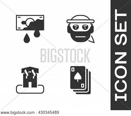 Set Playing Cards, Bloody Money, Arson Home And Bandit Icon. Vector