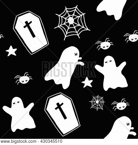 Seamless Halloween pattern. White and Black Sweet little ghosts and spider friends, gravestones, spider webs and little stars. Halloween day concept. Illustration abstract art design. Vector EPS10.