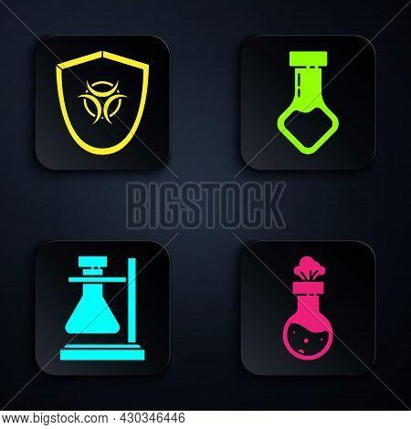 Set Test Tube And Flask Chemical, Biohazard Symbol On Shield, Test Tube Flask On Stand And Test Tube