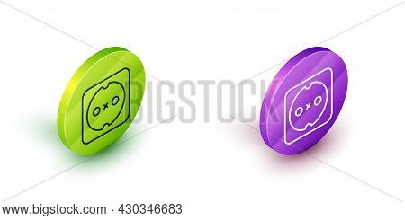 Isometric Line Electrical Outlet Icon Isolated On White Background. Power Socket. Rosette Symbol. Gr