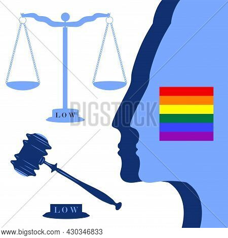 Rainbow Symbol, Judicial Gavel, Scales Of Justice, Images Of A Person - Vector. National Freedom Day
