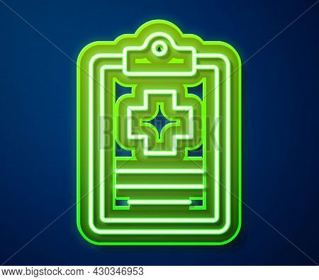 Glowing Neon Line Medical Clipboard With Clinical Record Icon Isolated On Blue Background. Prescript