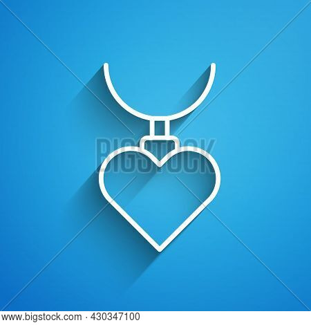 White Line Necklace With Heart Shaped Pendant Icon Isolated On Blue Background. Jewellery Decoration
