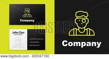 Logotype Line Jeweler Man Icon Isolated On Black Background. Logo Design Template Element. Vector