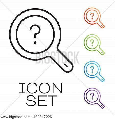 Black Line Unknown Search Icon Isolated On White Background. Magnifying Glass And Question Mark. Set