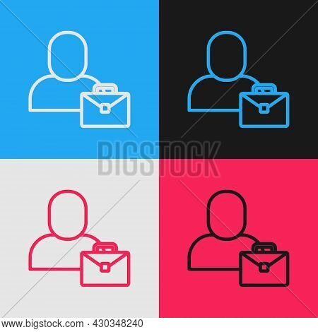 Pop Art Line Freelancer Icon Isolated On Color Background. Freelancer Man Working On Laptop At His H