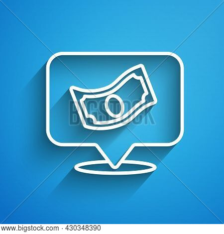 White Line Stacks Paper Money Cash Icon Isolated On Blue Background. Money Banknotes Stacks. Bill Cu