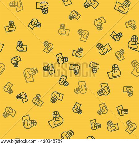 Blue Line Dog In Muzzle Icon Isolated Seamless Pattern On Yellow Background. Accessory For Dog. Vect