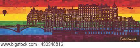 Edinburgh On Lgbt Flag Background - Illustration,  Town In Rainbow Background,  Vector City Skyline