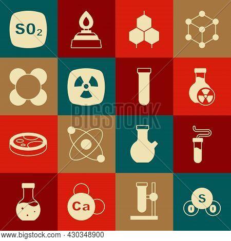Set Sulfur Dioxide So2, Test Tube, With Toxic Liquid, Chemical Formula, Radioactive, Molecule, And I