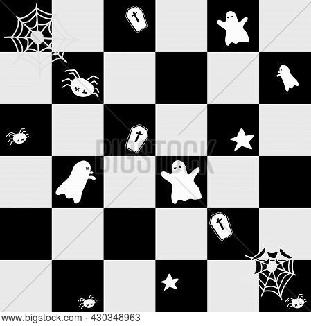 Seamless Pattern. Halloween Concept. A Cute Little Ghost Flies Around On A Black And Light Gray Chec