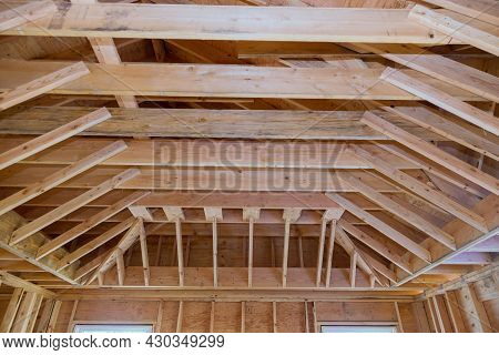 Interior View Construction New Residential Home Framing