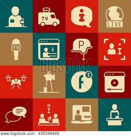 Set Breaking News, Live Stream, Television Report, Information, Microphone, Journalist And War Journ