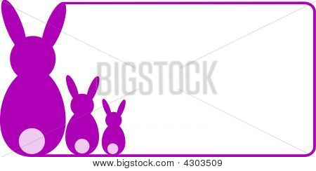 pink border in landscape format with three bunnies poster