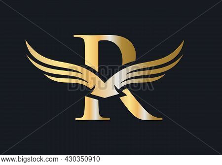 R Letter Wing Logo Design. Initial Flying Wing R Letter Logo. Letter R Logo And Wings Concept